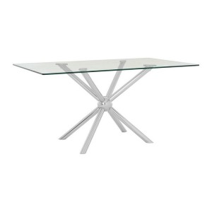 Novo Silver Metal & Clear Tempered Glass Rectangular Dining Table