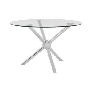 Novo Silver Metal & Clear Tempered Glass Round Dining Table