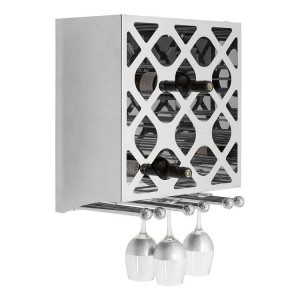 Novo Silver Metal Wall Mounted 12 Bottle Wine Rack with Glass Holder