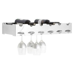Novo Silver Metal Wall Mounted 6 Bottle Wide Wine Rack with Glass Holder