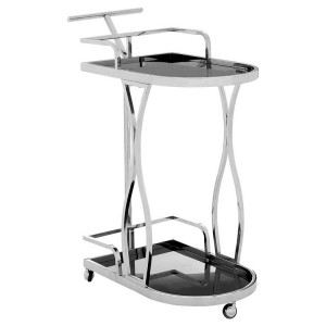 Novo Silver Metal & Black Tempered Glass 2 Tier Wavy Design Trolley