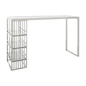 Piermount Metal Furniture Silver Finish Bar Table with Glass Top