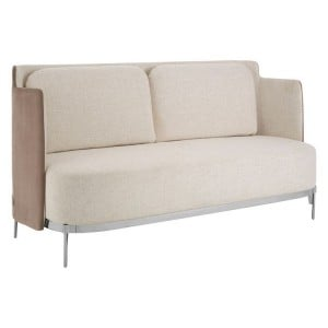 Piermount Metal Furniture White and Grey Fabric Sofa