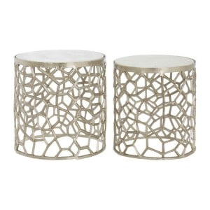 Templar Nickel Silver Finish Metal and White Marble Side Tables