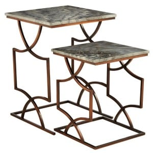 Templar Set of 2 Bronze Finish Iron and Grey Marble Square Side Tables