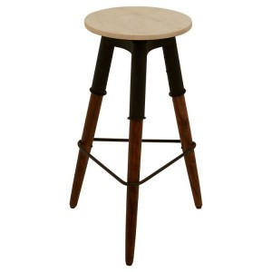 Vasco Industrial Furniture 3 Iron Leg Bar Stool With Marble Top