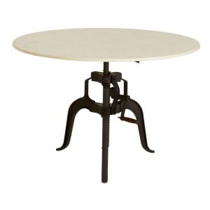 Vasco Industrial Furniture 3 Iron Leg Large White Marble Dining Table