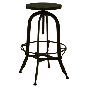 Vasco Industrial Furniture Black Iron and Green Finish Bar Stool