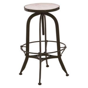 Vasco Industrial Furniture Black Iron and White Finish Bar Stool