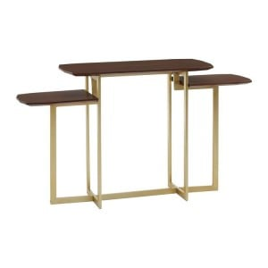 Villi Contemporary Furniture Walnut Wood and Metal 3 Tier Table