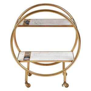 Vizzini White Marble and Brass Finish Metal 2 Tier Bar Serving Trolley