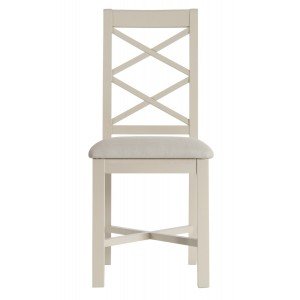 Intone Painted Furniture Fabric Seat Dining Chair Pair
