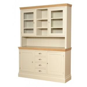 Lundy Painted Oak Furniture Large Glass Top Dresser