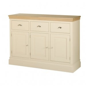 Lundy Painted Oak Furniture 3 Drawer Sideboard