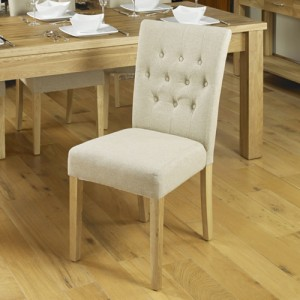Mobel Oak Furniture Cream Fabric Dining Table Chair Pair
