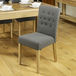 Mobel Oak Furniture Grey Fabric Dining Table Chair Pair