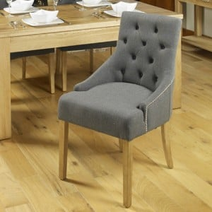 Mobel Oak Furniture Upholstered Grey Fabric Dining Table Chair Pair