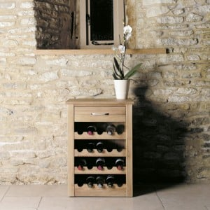 Mobel Oak Furniture Wine Rack Lamp Table