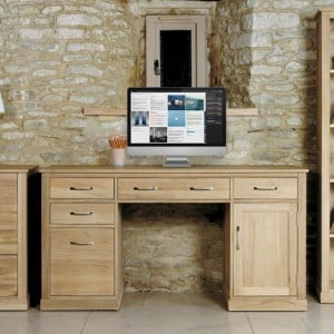 Mobel Oak Furniture Twin Pedestal Computer Desk