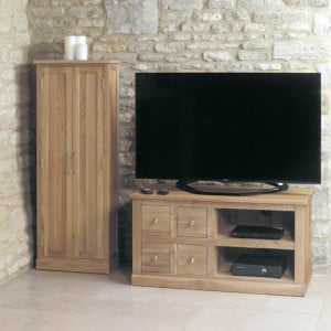 Mobel Oak Furniture 4 Drawer Television Cabinet Stand Unit