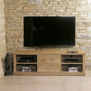 Mobel Oak Furniture Mounted Widescreen Television Cabinet