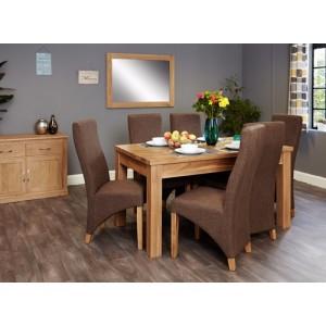 Mobel Oak Furniture Extending 8 Seater Dining Table & Hazelnut Set