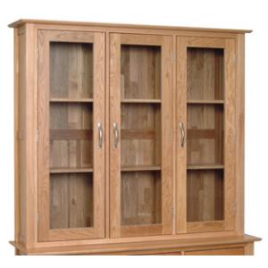 Devonshire New Oak Furniture 4ft 6 Dresser Glass Top