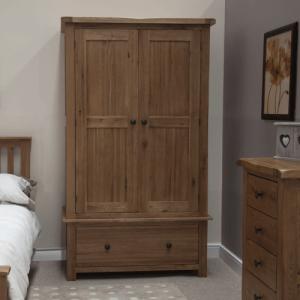 Homestyle Rustic Style Oak Furniture Gents Wardrobe