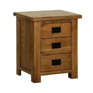 Devonshire Rustic Oak Furniture 3 Drawer Bedside