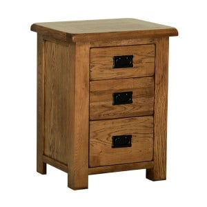 Devonshire Rustic Oak Furniture 3 Drawer High Bedside