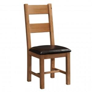 Devonshire Rustic Oak Furniture Ladder Back Dining Chair