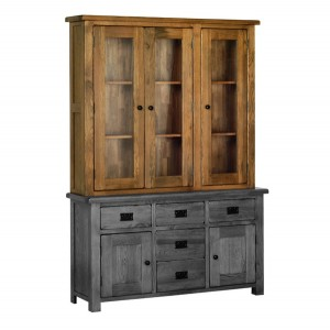 Devonshire Rustic Oak Furniture 4ft6 Glass Dresser Top