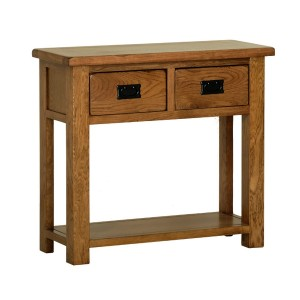 Devonshire Rustic Oak Furniture Console Table With 2 Drawers