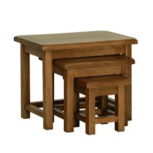 Devonshire Rustic Oak Furniture Small Nest Of Tables
