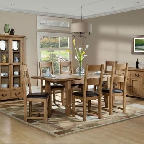 Somerset Rustic Oak Furniture Medium Extending Dining Set