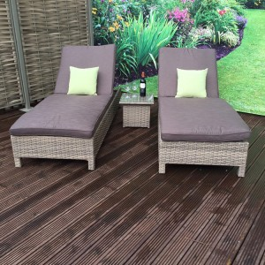Signature Weave Garden Furniture Sarena Nature Sunbeds and Side Table Set