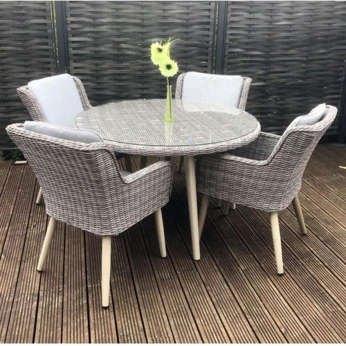 Signature Weave Garden Furniture Danielle Grey Round 120cm Dining Table with 4 Chairs