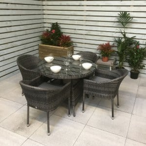 Signature Weave Garden Emily Grey 4 Seat Stacking Round Dining Set