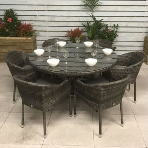 Signature Weave Furniture Garden Emily Grey 6 Seat Stacking Round Dining Set