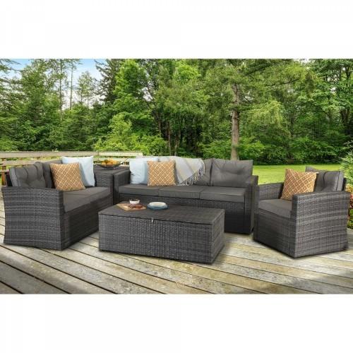 Signature Weave Rattan Garden Furniture Holly Grey Five Piece Contemporary Sofa Set