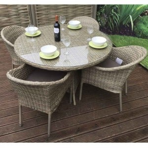 Signature Weave Garden Furniture Darcey 4 Seater Round Stacking Set