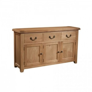 Somerset Rustic Oak Furniture 3 Door 3 Drawer Sideboard