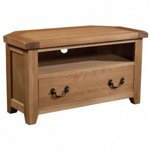 Somerset Rustic Oak Furniture 1 Drawer Corner TV Unit