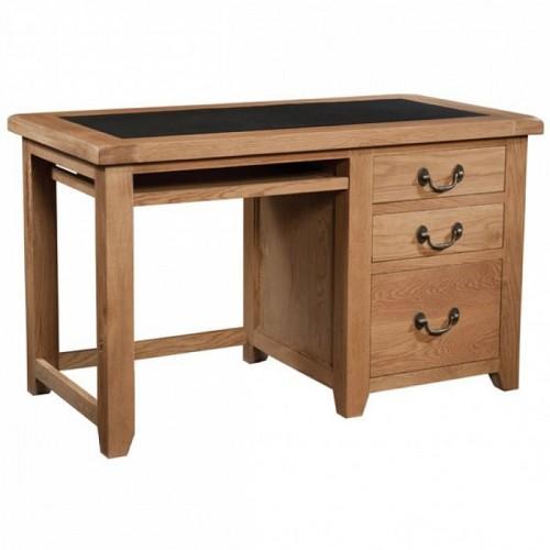 Somerset Rustic Oak Furniture Office Desk with PU Top
