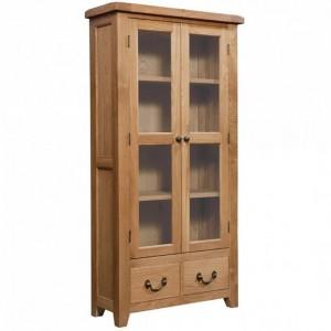 Somerset Rustic Oak Furniture 2 Door Display Cabinet