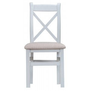 Tenby Grey Painted Furniture Cross Back Chair With Fabric Seat Pair