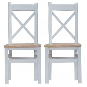 Tenby Grey Painted Furniture Cross Back Chair With Wooden Seat Pair