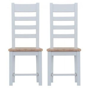 Tenby Grey Painted Furniture Ladder Back Chair With Wooden Seat Pair