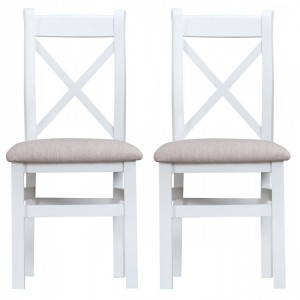 Tenby White Painted Furniture Cross Back Chair With Fabric Seat Pair