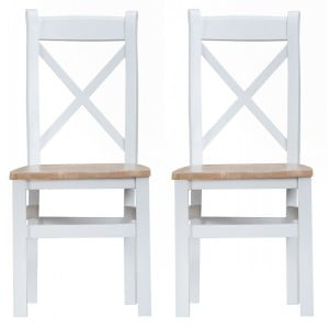 Tenby White Painted Furniture Cross Back Chair With Wooden Seat Pair